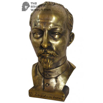 Russian bronze bust of Soviet revolutioner communist Dzerzhinsky
