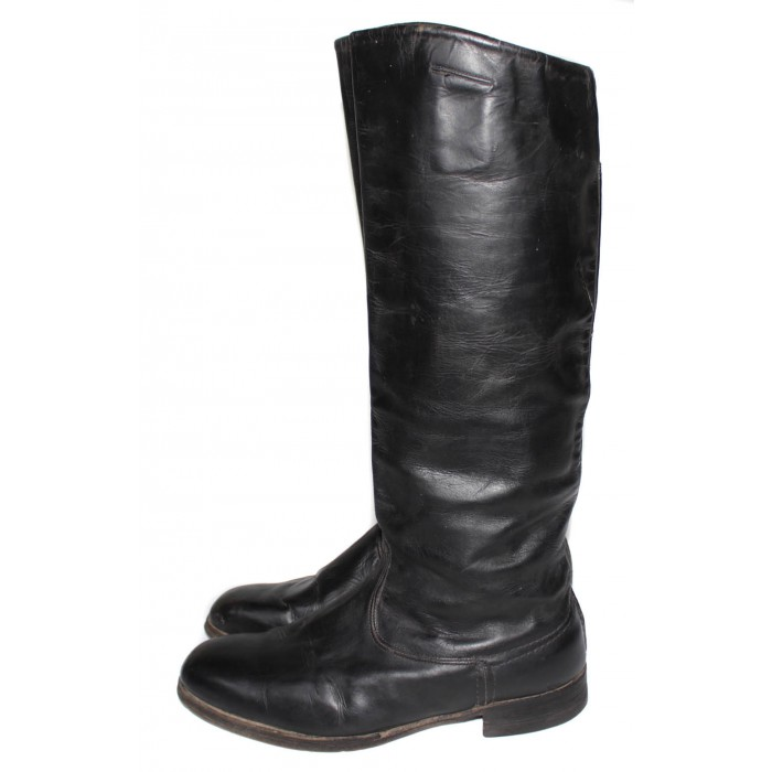 USED Soviet Original Red Army Russian military black Leather General vintage BOOTS SIZE 42