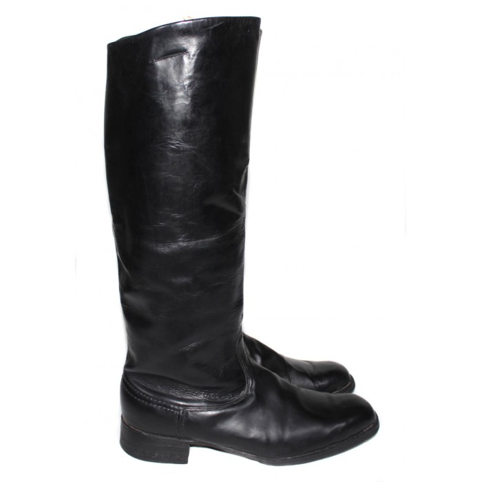 USED Soviet Original Red Army Russian military black Leather General vintage BOOTS SIZE 43