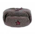 USSR Army russian woolen cloth and faux fur warm winter ushanka hat with red Star pin badge