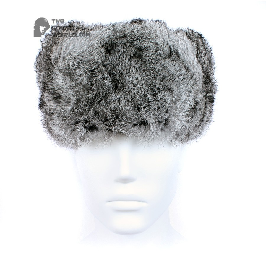 Russian / Soviet original vintage Gray Rabbit fur winter hat Ushanka earflaps