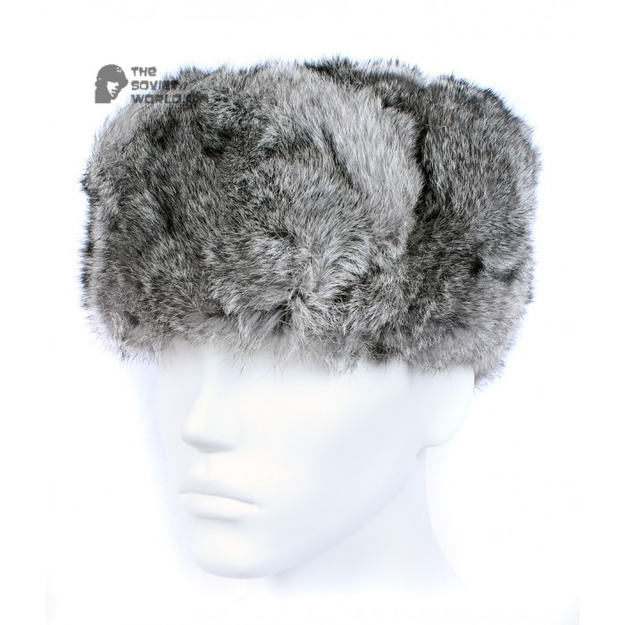 4179b0d72b9 Russian   Soviet original vintage Gray Rabbit fur winter hat Ushanka  earflaps