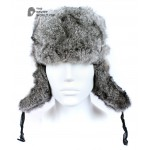 Russian / Soviet original vintage Gray Rabbit fur winter hat Ushanka earflaps