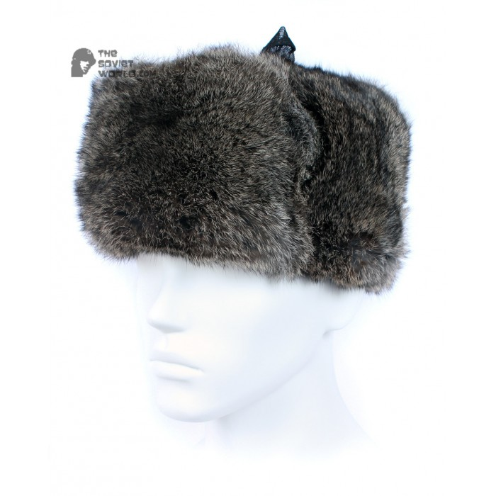 Russian / Soviet original vintage Brown Rabbit fur winter hat Ushanka earflaps