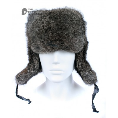 Russian / Soviet original vintage Brown Rabbit fur winter hat Ushanka earflaps