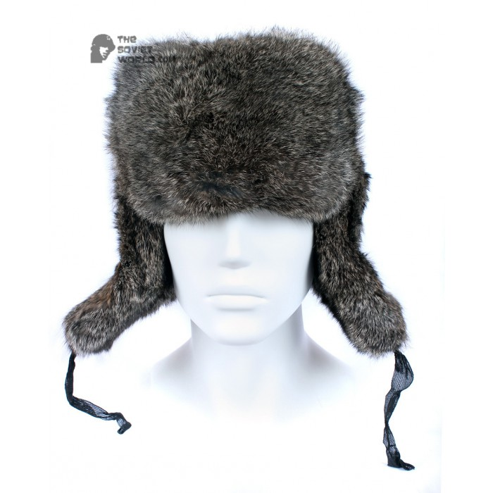 1d34049dfd5 Russian   Soviet original vintage Brown Rabbit fur winter hat Ushanka  earflaps