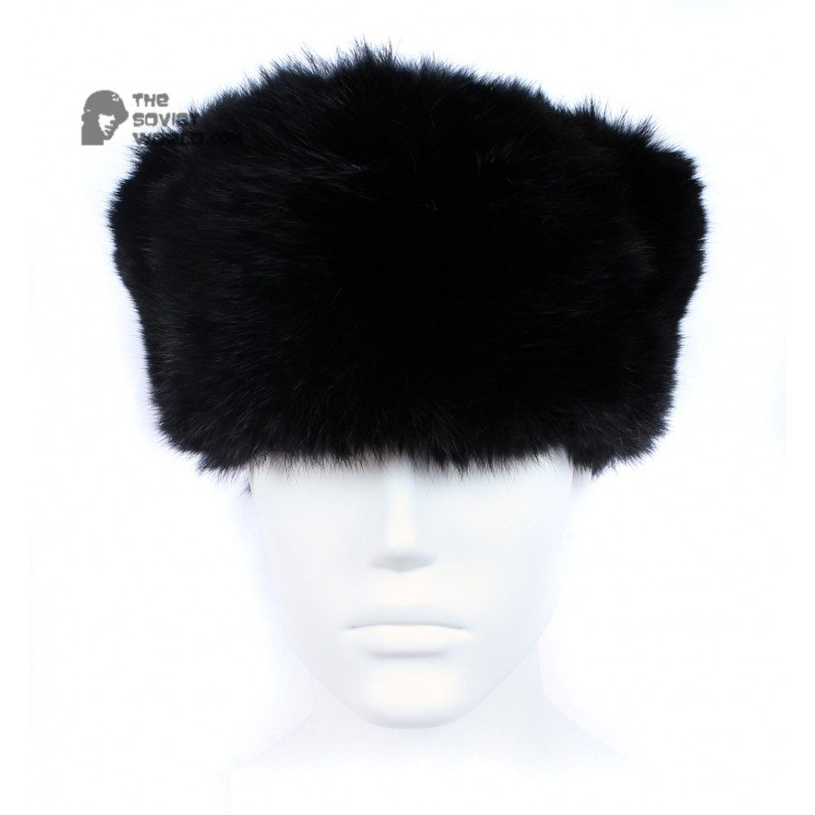 Russian / Soviet original vintage Black Rabbit fur winter hat Ushanka earflaps