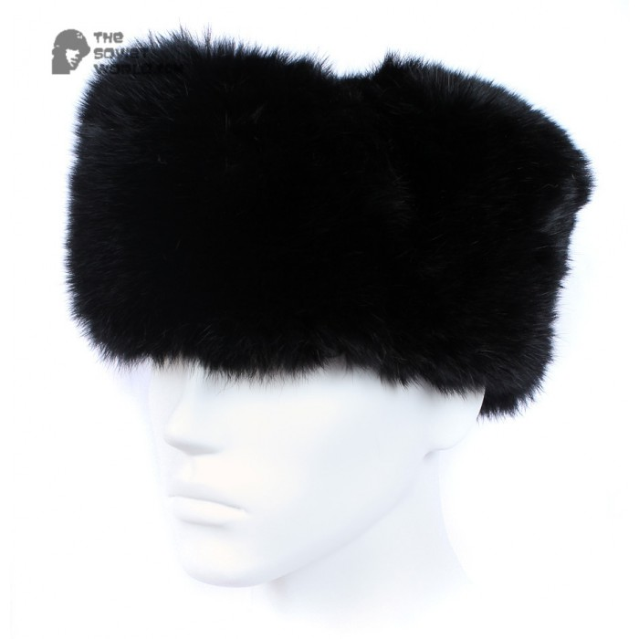 6a3da04d5a4 Russian   Soviet original vintage Black Rabbit fur winter hat Ushanka  earflaps
