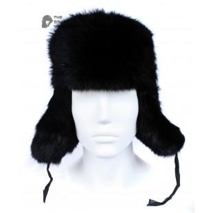 ee47f295 Russian / Soviet original vintage Black Rabbit fur winter hat Ushanka  earflaps