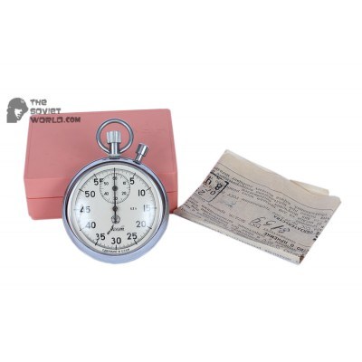 VINTAGE Stopwatch AGAT & Box / Documents USSR Mechanical