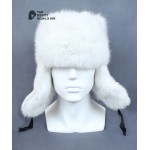 Russian / Soviet original vintage White Rabbit fur winter hat Ushanka earflaps