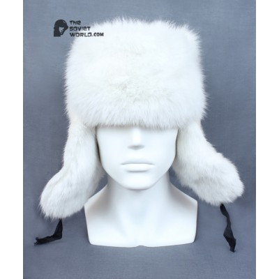 7f4561a5726 Russian   Soviet original vintage White Rabbit fur winter hat Ushanka  earflaps