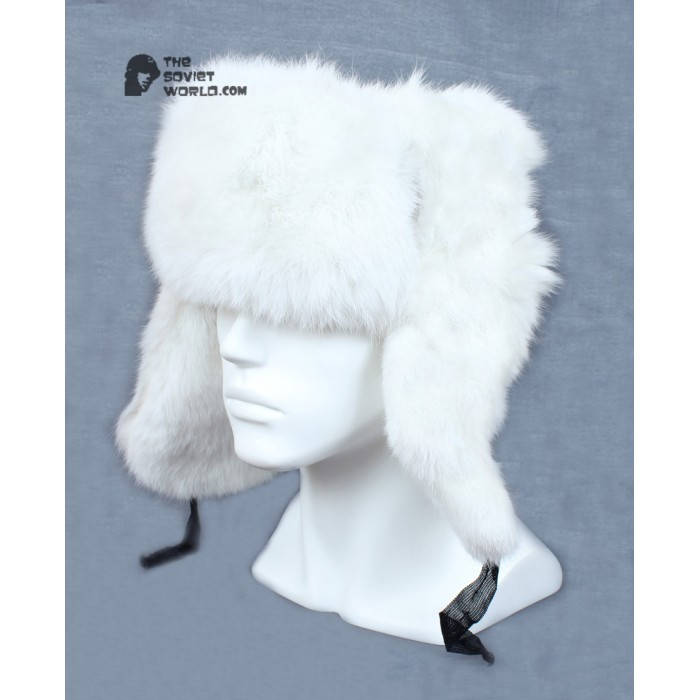 Russian / Soviet original vintage White Rabbit fur winter hat Ushanka earflaps