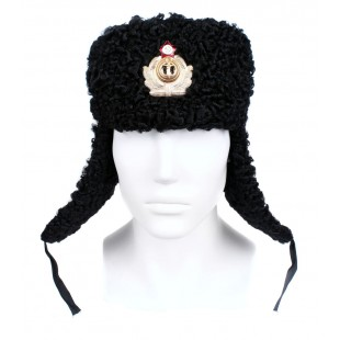 Soviet Russian Naval Admiral winter original black Astrakhan fur and leather Ushanka hat earflaps