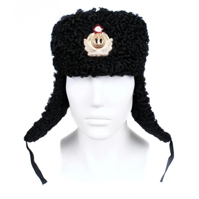 Soviet Russian Naval Admiral winter original black Astrakhan fur and leather Ushanka hat earflaps