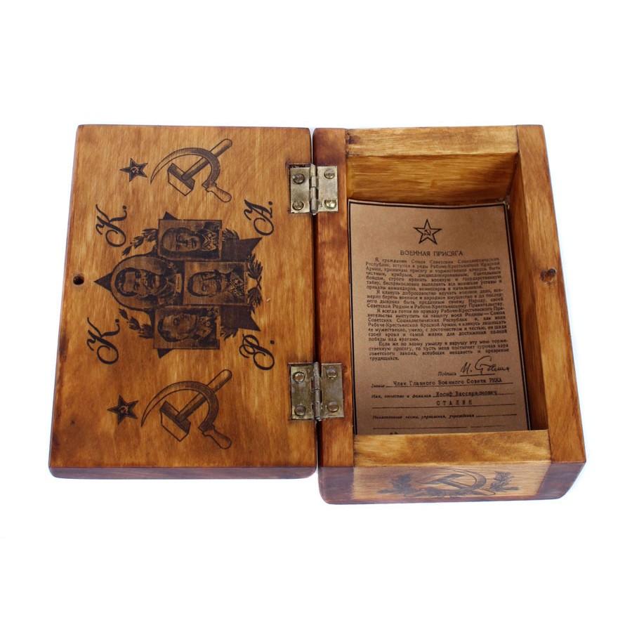 Soviet RKKA army hand made box for tobacco, cigaretes (Stalin & Budenov)
