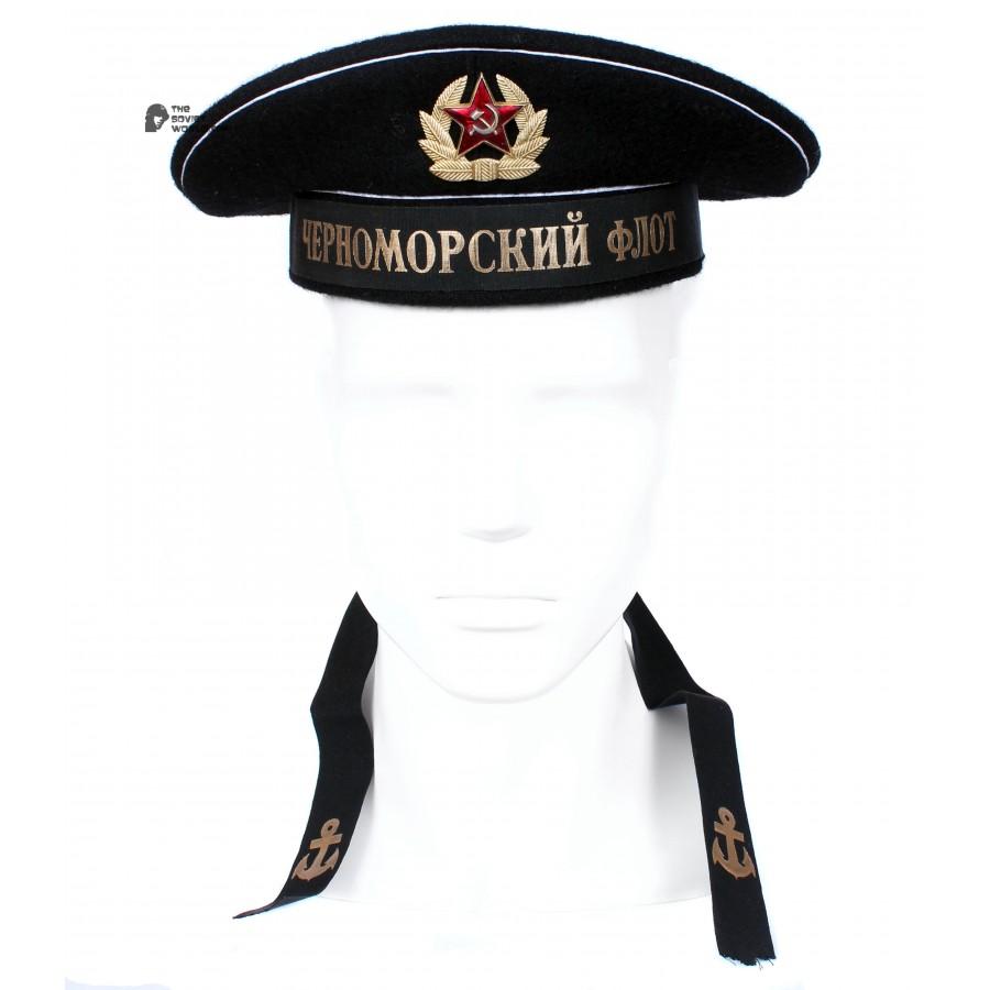 "Russian Naval black USSR visorless Hat ""Black sea fleet"""
