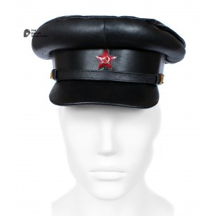 "Exclusive soviet natural leather russian NKVD type black visor hat called ""Komissarka"""