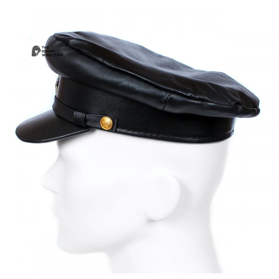 "Exclusive soviet natural leather russian NKVD type black visor hat called ""Komissarka"""