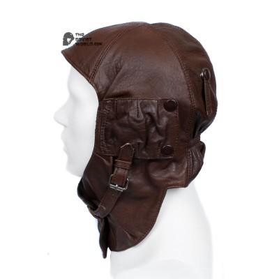 WWII Russian brown leather RKKA AIR FORCE Vintage Soviet helmet sample 1935