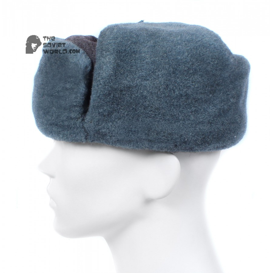 Russian Army Soviet military original vintage fur winter Soldier's trapper hat Ushanka earflaps