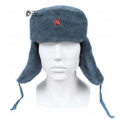 Russian Army Soviet military original vintage fur winter Soldier's trapper hat Ushanka earflaps