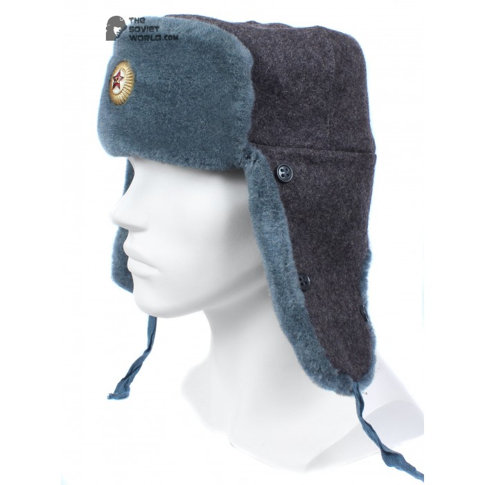 Russian Army Soviet military original fur winter Officer's hat Ushanka earflaps