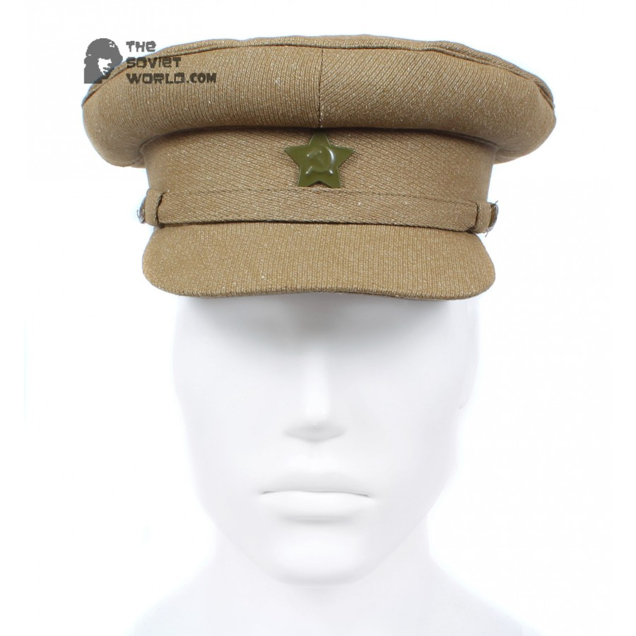 Soviet russian RKKA military Khaki Visor Cap Red Army WWII hat
