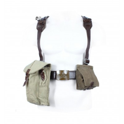 Original Soviet Army set of shoulder belt Suspenders, Bag for grenades,  Water Flask, Ammo Bag AK-47 & AK-74, Sappier Shovel, Raincoat