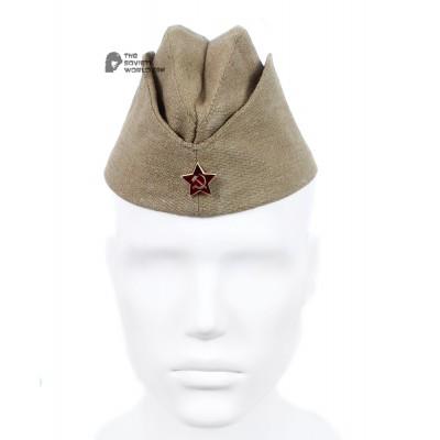 RKKA WW2 Vintage Soviet military Hat Pilotka, 1940s USSR army cap with Red Star