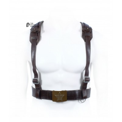 Original Soviet Army set of double-shoulder belt Suspenders and USSR soldier's belt