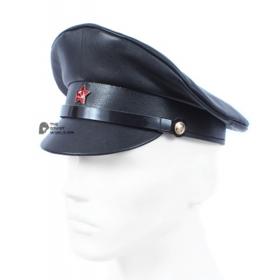Soviet red army Officer's black leather field visor cap summer rare military hat