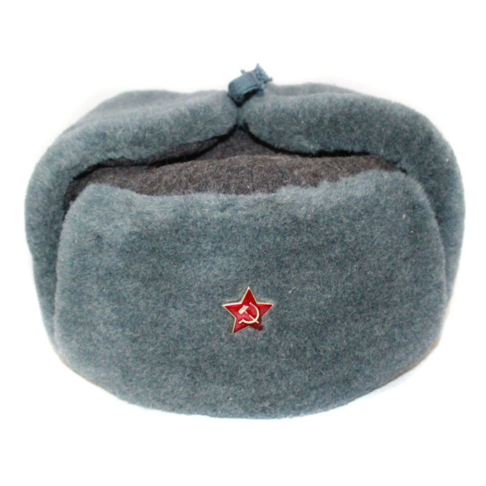 958181f8a63 Russian Army Soviet military original vintage fur winter Soldier s trapper hat  Ushanka earflaps