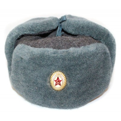 Russian Army Soviet military original fur winter Officer's hat Ushanka earflaps