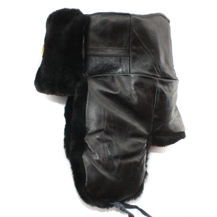 Soviet army Russian Naval Officer genuine fur and leather winter black trapper hat Ushanka earflaps