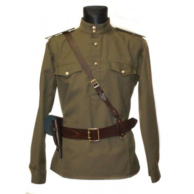Soviet / Russian Army military uniform - Gimnasterka jacket, Portupeya belt