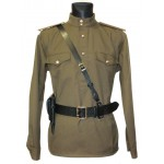 Soviet / Russian Army military uniform - Gimnasterka jacket, Black Portupeya belt