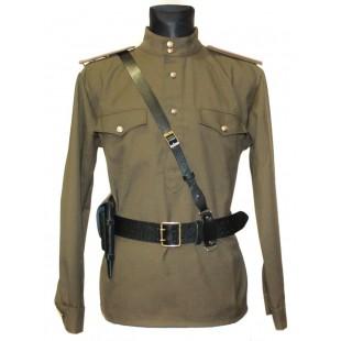 Soviet / Russian Army military uniform - Gimnasterka jacket, Black Portupeya belt