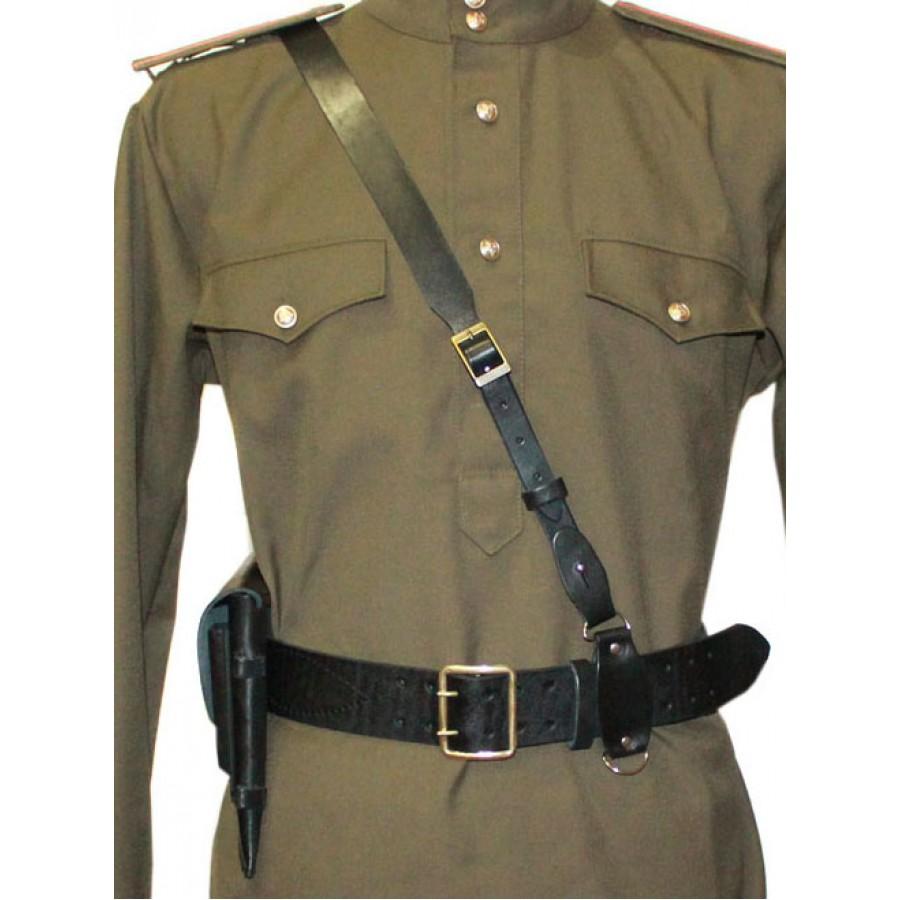 Soviet PORTUPEYA Officer's leather black Belt and holster