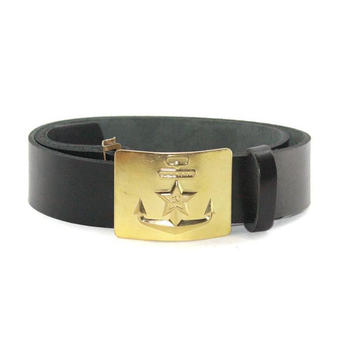 Soviet military black leather Russian NAVY marines belt