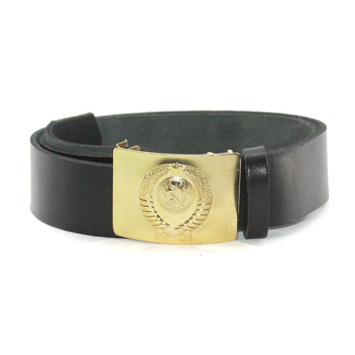 Soviet military black leather Russian police belt