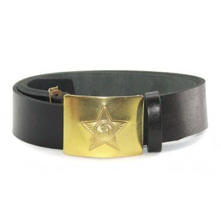 Soviet military black leather Russian soldier's belt