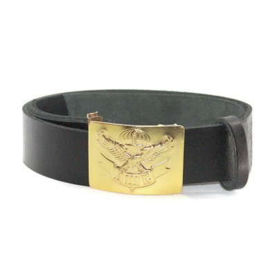 Soviet military black leather Airborn Assault force 'ДШБ' belt