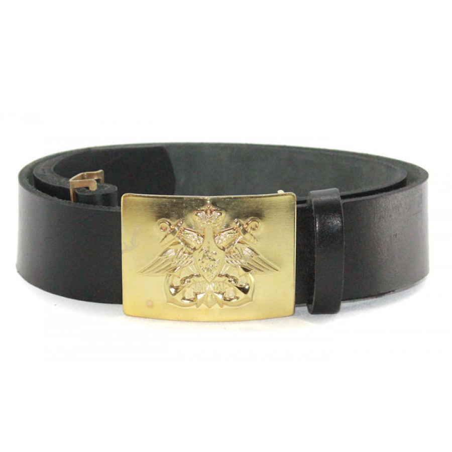 Russian military black leather NAVAL belt