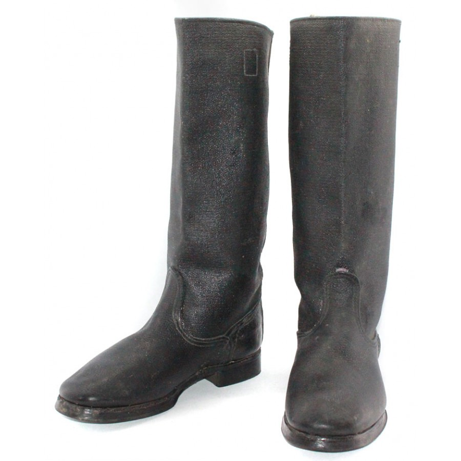 Soviet army Russian military soldier's Leather black Kersey USSR boots