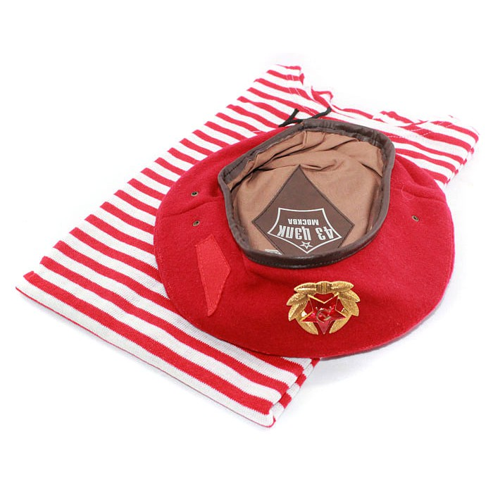Russian special force SPETSNAZ striped vest, t-shirt and Beret hat with badge