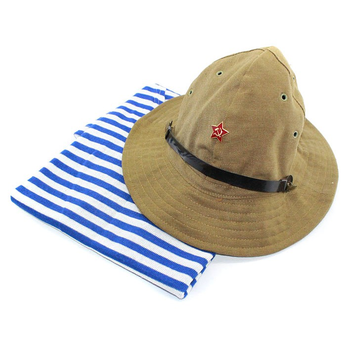 Soviet army Russian military Afghanistan uniform VDV striped vest and Panama hat