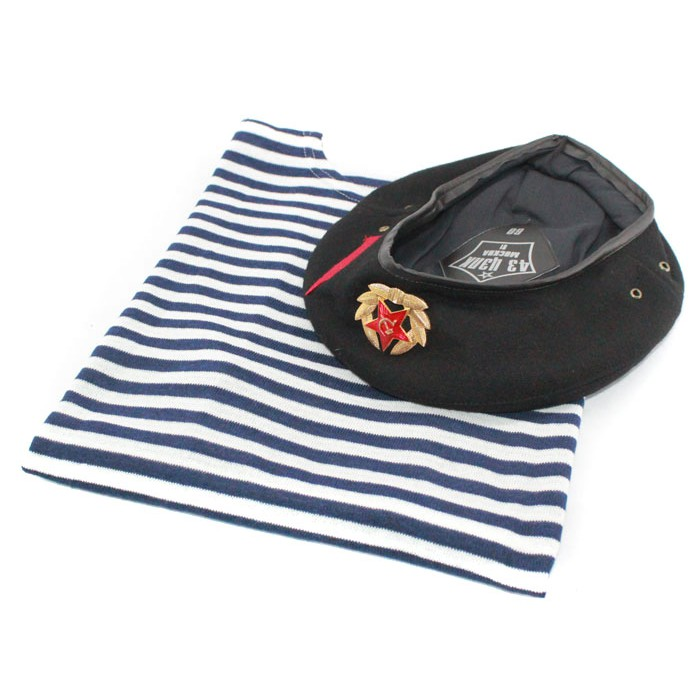 Soviet NAVY / Russian marines striped t-shirt, vest and Beret hat