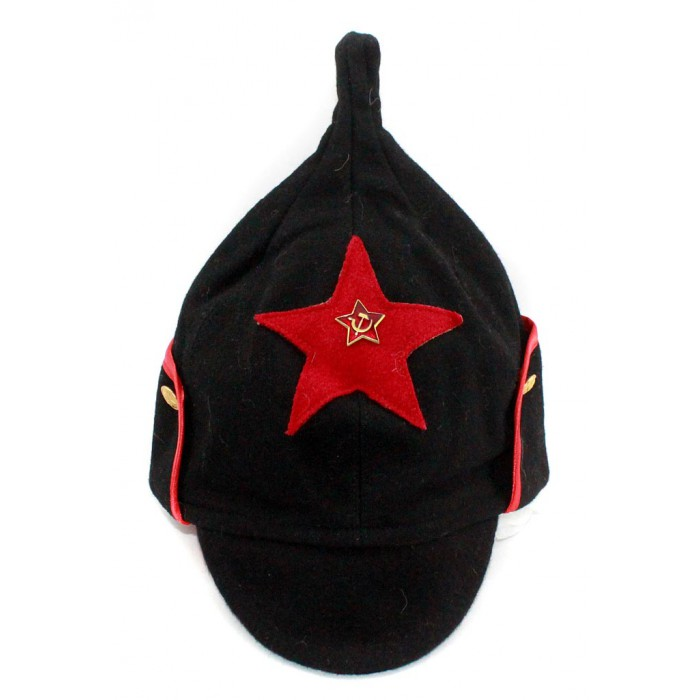 Soviet RKKA infantry russian Red Army woolen winter black hat BUDENOVKA