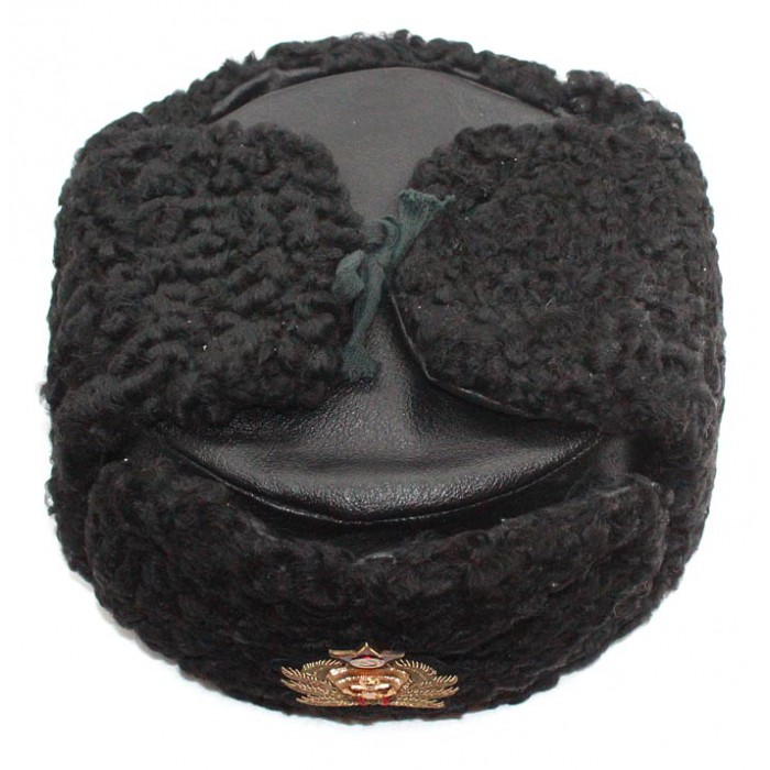Soviet Russian Naval Admiral winter original black Astrakhan fur and leather Ushanka hat with handmade golden thread Cocarde